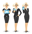businesswoman using cloud computing vector image