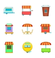 Cafe on wheels icons set cartoon style vector image vector image