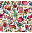 cartoon cute hand drawn handmade seamless pattern vector image vector image
