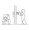 cartoon of man using power drill and doing hole vector image vector image