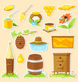 cartoon stickers of beekeeping vector image vector image