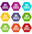 computer service icons set 9 vector image