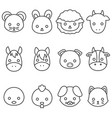 cute cartoon farm animal line icon set vector image
