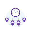 delivery time icon with destination marks vector image