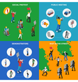Demonstration Protest 4 Flat Icons Square vector image vector image