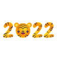 emblem for new year of 2022 with head of a tiger vector image vector image