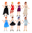 Female avatar with dresses and shoes vector image vector image