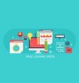 flat modern concept page loading speed vector image