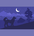 forest camping with the best friend - dog vector image