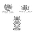 hand drawn stylized owl bird icon set vector image