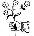 Hand with flower vector image vector image
