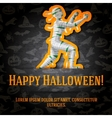 Happy halloween greeting card with mummy sticker vector image vector image
