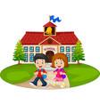 happy school children in front school vector image vector image