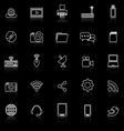 Hi tech line icons with reflect on black vector image
