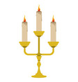 isolated candlestick with lit candles vector image