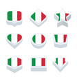 italy flags icons and button set nine styles vector image