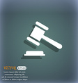 judge or auction hammer icon On the blue-green vector image