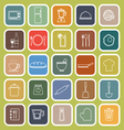 Kitchen line flat icons on green background vector image vector image