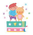 little chubby boy with books and bear vector image