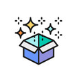 magic box with confetti gift flat color line icon vector image vector image