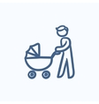 Man walking with baby stroller sketch icon vector image vector image