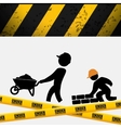 men builder wheelbarrow brick wall tape vector image vector image