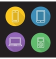 Modern gadgets flat linear icons set vector image vector image
