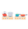 pot and pan on stove preparing food and boiling vector image