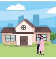 pregnant family cartoon vector image