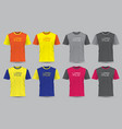 realistic t-shirt sport front view set vector image