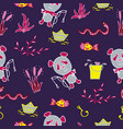 saturated seamless pattern with the panda fishes vector image