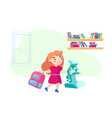 schoolgirl character with backpack and microscope vector image
