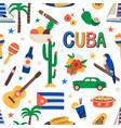 seamless cuban pattern with cuba touristic symbols vector image vector image
