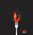 shrimp on fork grilled tiger prawn hot shrimp vector image vector image