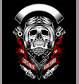skull with motorcycle helmet and bandana vector image vector image