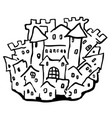 small castle town line drawing vector image vector image