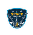 space exploring galaxy discovery spaceship start vector image