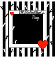 stylish black and white valentines day background vector image vector image