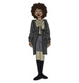 the funny exotic girl in a coat vector image vector image