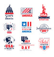 united states america logo templates set 4th vector image vector image