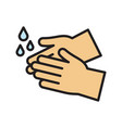 washing hands icon with water drops vector image