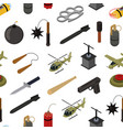 Weapons 3d isometric seamless pattern background