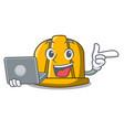 with laptop construction helmet character cartoon vector image