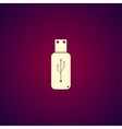 usb icon - flat button vector image