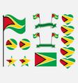 guyana flag set symbols flag in heart vector image