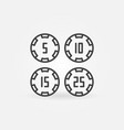 4 poker chips concept icon in thin line vector image vector image