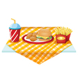 A fastfood table with foods vector image
