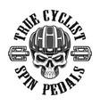 a skull in cyclist helmet vector image vector image