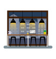 bar counter at the panoramic window in the cafe vector image vector image
