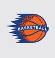 basketball logo white ball sport american game vector image vector image